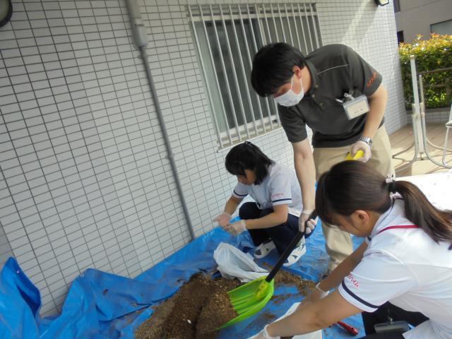 【AH南浦和】スタッフがホーム玄関前のプランターの植え替え作業を行いました!共同作業でしっかりと終えることができました!