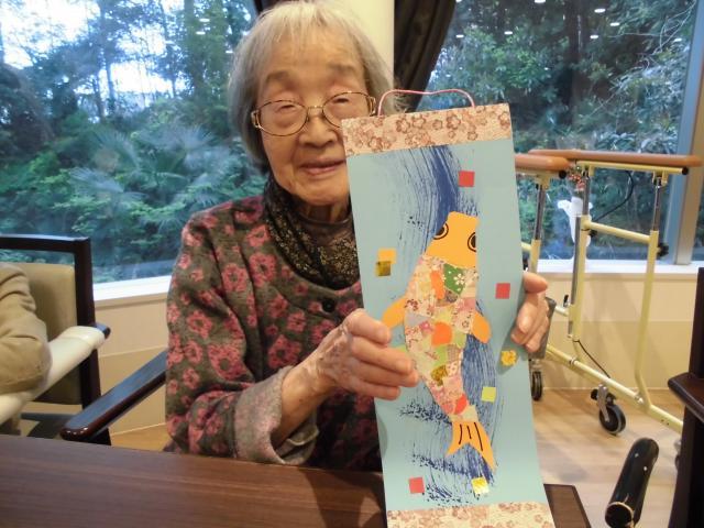 【AH川崎中央】手先を動かして楽しく創作♪今回はちぎり絵で「鯉」を作りました!