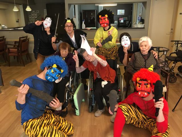 【AH町田】節分の恒例行事は、鬼とご入居者でたくさん記念写真を撮りました☆